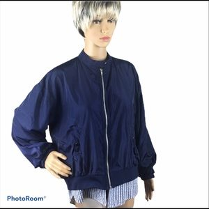 Umgee navy bomber jacket with blue striped insert